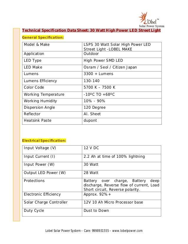 Solar Technical Data Specification Led Street Sheetamp; Light CBeordx