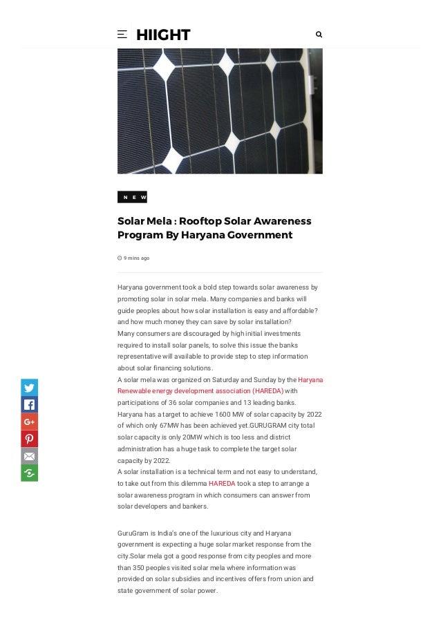 Solar mela rooftop solar awareness program by haryana government