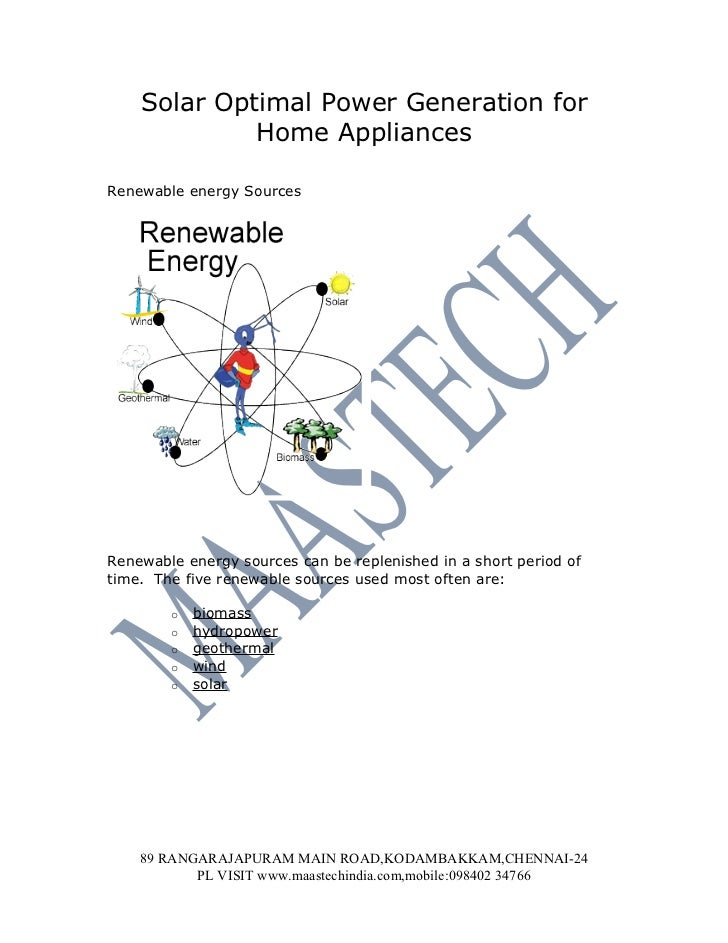 Solar Optimal Power Generation for             Home AppliancesRenewable energy SourcesRenewable energy sources can be repl...