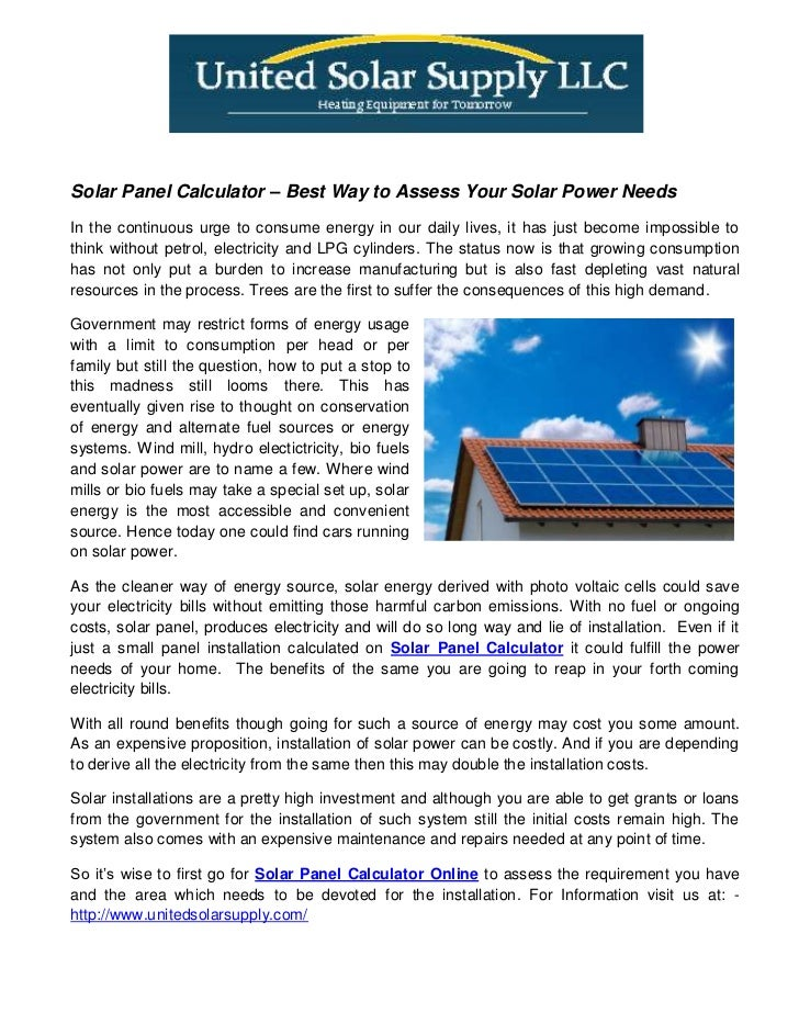 Solar Panel Calculator – Best Way to Assess Your Solar Power Needs