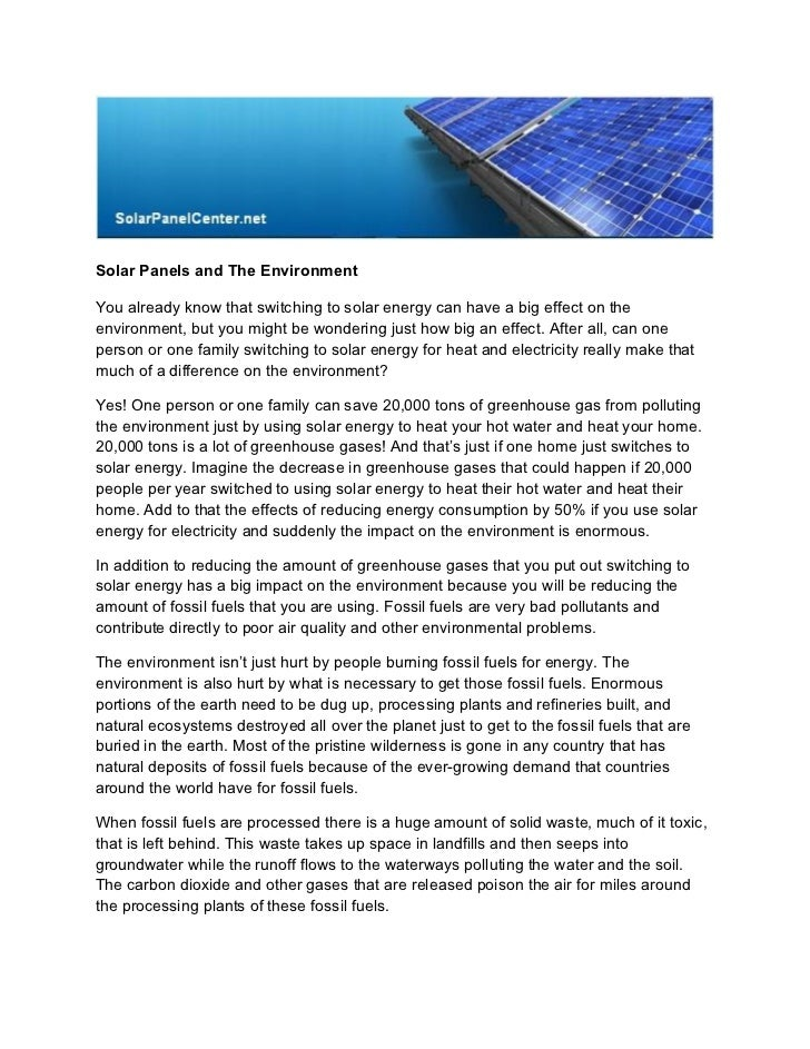 Solar panels and the environment