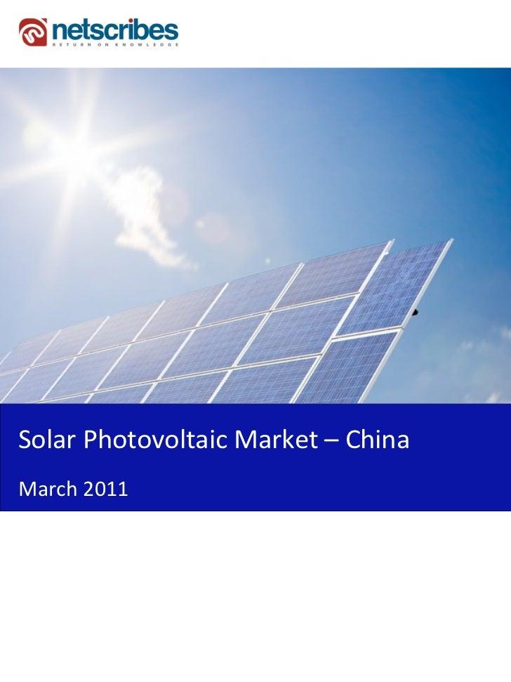 Solar Photovoltaic Market – ChinaMarch 2011