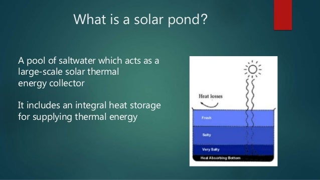 Solar Ponds And Its Applications