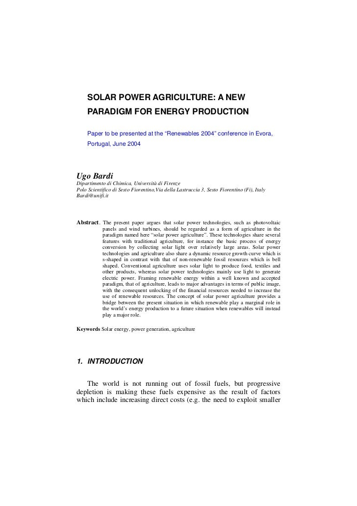 """SOLAR POWER AGRICULTURE: A NEW     PARADIGM FOR ENERGY PRODUCTION     Paper to be presented at the """"Renewables 2004"""" confe..."""