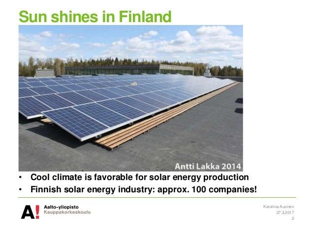 Solar power in Finland 2016-2017 Slide 2
