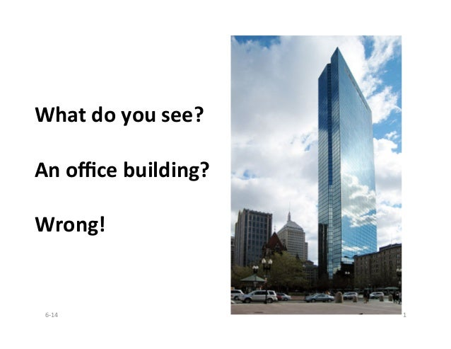 What	   do	   you	   see?	    	    An	   office	   building?	    	    Wrong!	    6-­‐14	    1