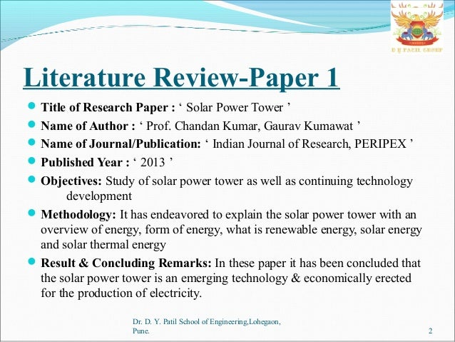 research paper on solar power tower