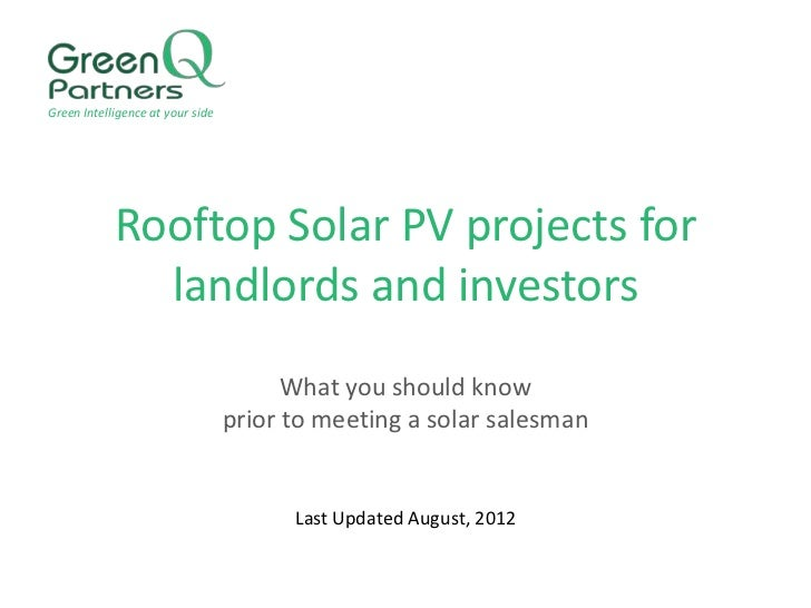 Green Intelligence at your side            Rooftop Solar PV projects for              landlords and investors             ...