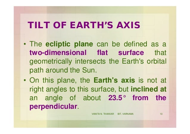 TILT OF EARTH'S AXIS • The ecliptic plane can be defined as a two-dimensional flat surface that geometrically intersects t...