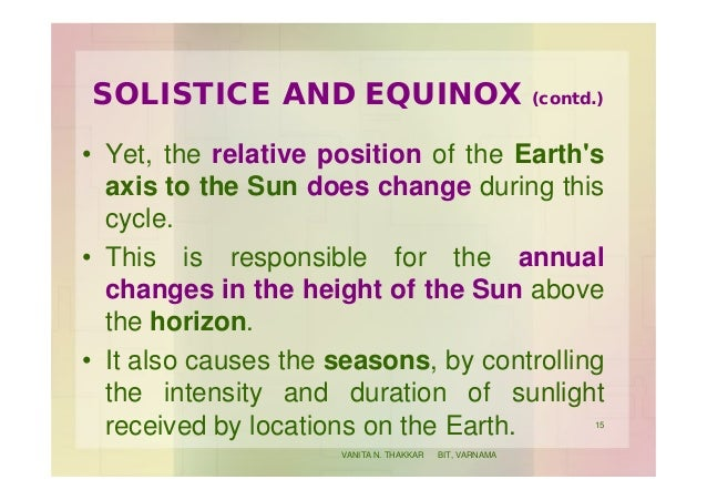 SOLISTICE AND EQUINOX (contd.) • Yet, the relative position of the Earth's axis to the Sun does change during this cycle. ...