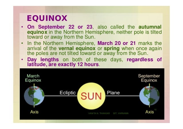 EQUINOX • On September 22 or 23, also called the autumnal equinox in the Northern Hemisphere, neither pole is tilted towar...