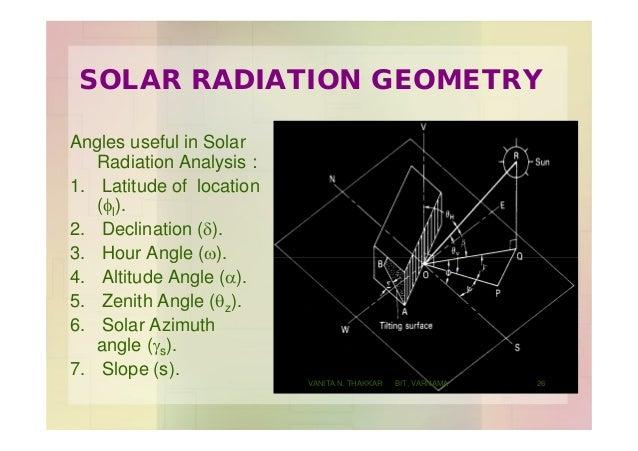 SOLAR RADIATION GEOMETRY Angles useful in Solar Radiation Analysis : 1. Latitude of location (fl). 2. Declination (d). 3. ...
