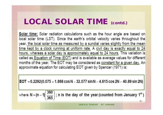 LOCAL SOLAR TIME (contd.) 35 VANITA N. THAKKAR BIT, VARNAMA