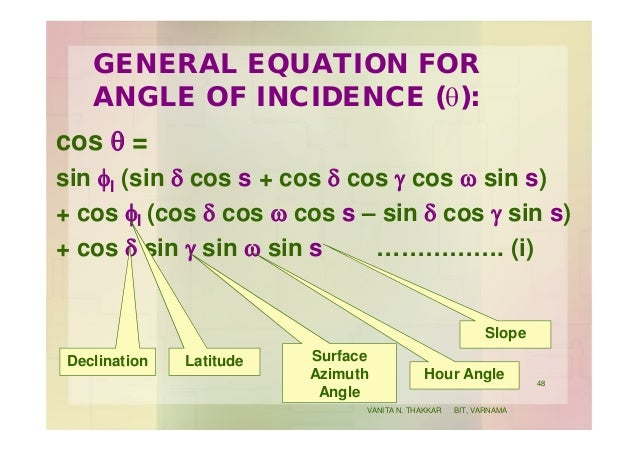 GENERAL EQUATION FOR ANGLE OF INCIDENCE (q): cos q = sin fl (sin d cos s + cos d cos g cos w sin s) + cos fl (cos d cos w ...