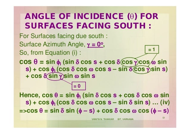 ANGLE OF INCIDENCE (q) FOR SURFACES FACING SOUTH : For Surfaces facing due south : Surface Azimuth Angle, g = 0o, So, from...