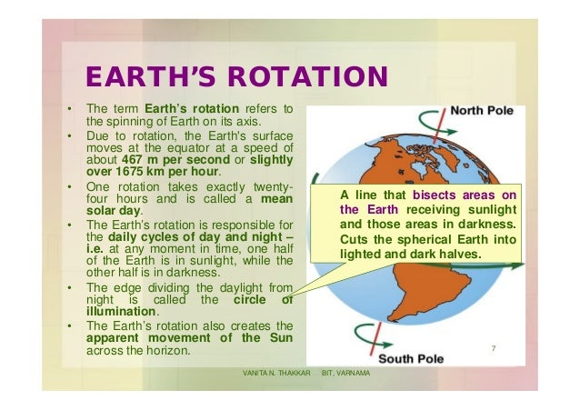 EARTH'S ROTATION • The term Earth's rotation refers to the spinning of Earth on its axis. • Due to rotation, the Earth's s...