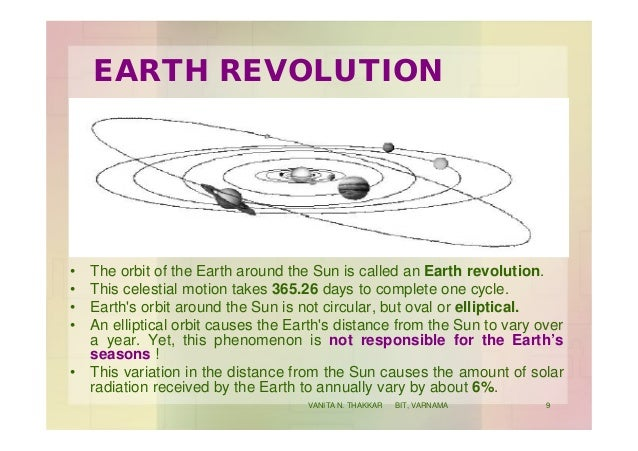 EARTH REVOLUTION • The orbit of the Earth around the Sun is called an Earth revolution. • This celestial motion takes 365....