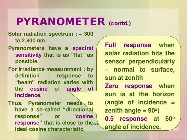 VANITA N. THAKKAR - BIT, VARNAMA 3 PYRANOMETER (contd.) Full response when solar radiation hits the sensor perpendicularly...