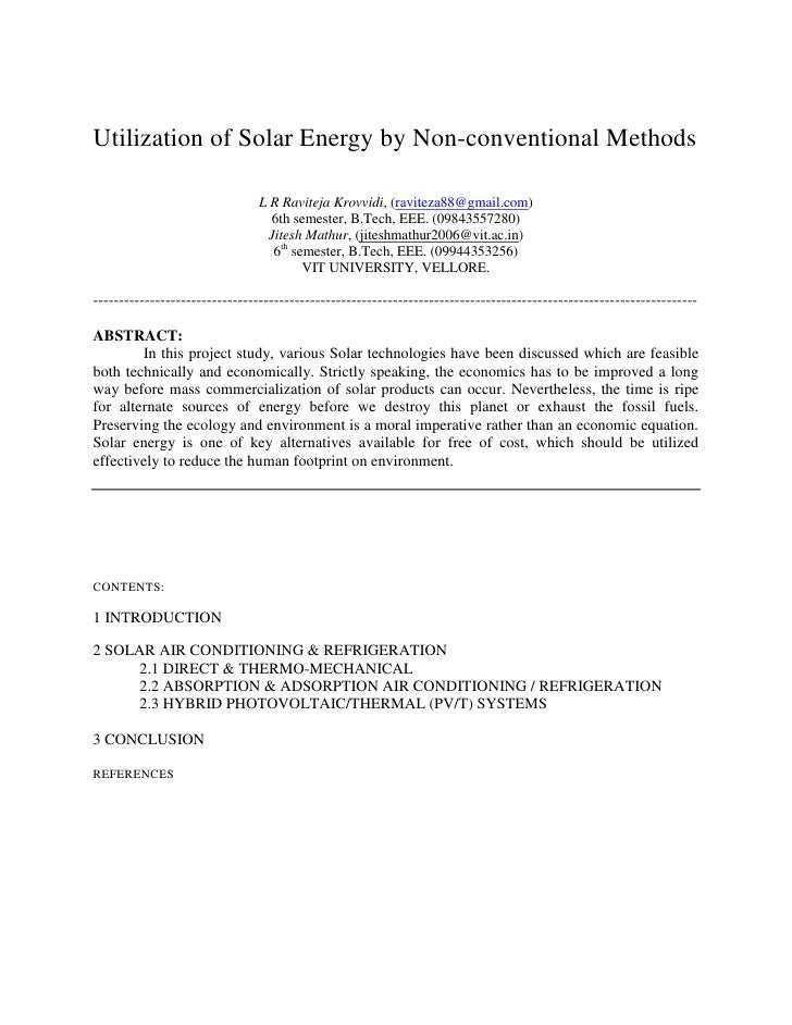 Utilization of Solar Energy by Non-conventional Methods                                  L R Raviteja Krovvidi, (raviteza8...