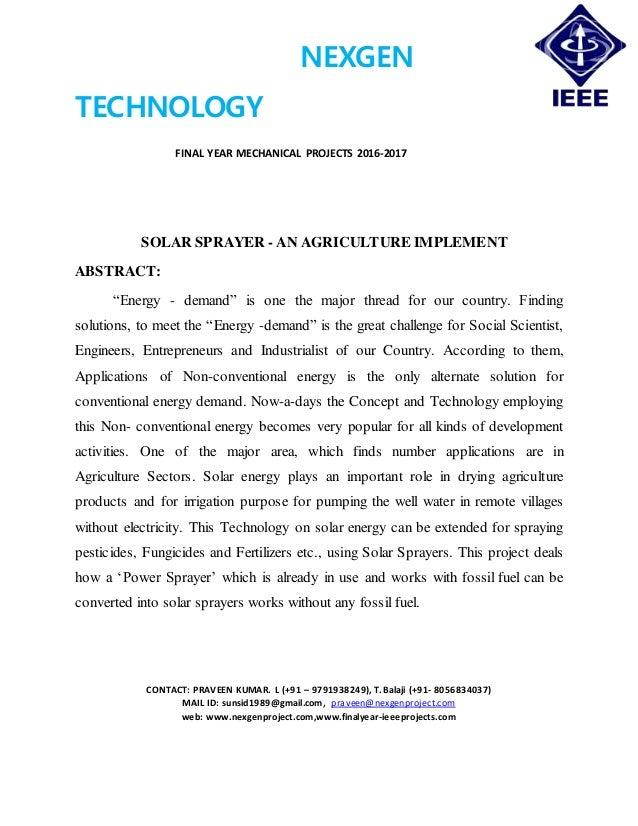 NEXGEN TECHNOLOGY FINAL YEAR MECHANICAL PROJECTS 2016-2017 CONTACT: PRAVEEN KUMAR. L (+91 – 9791938249), T. Balaji (+91- 8...