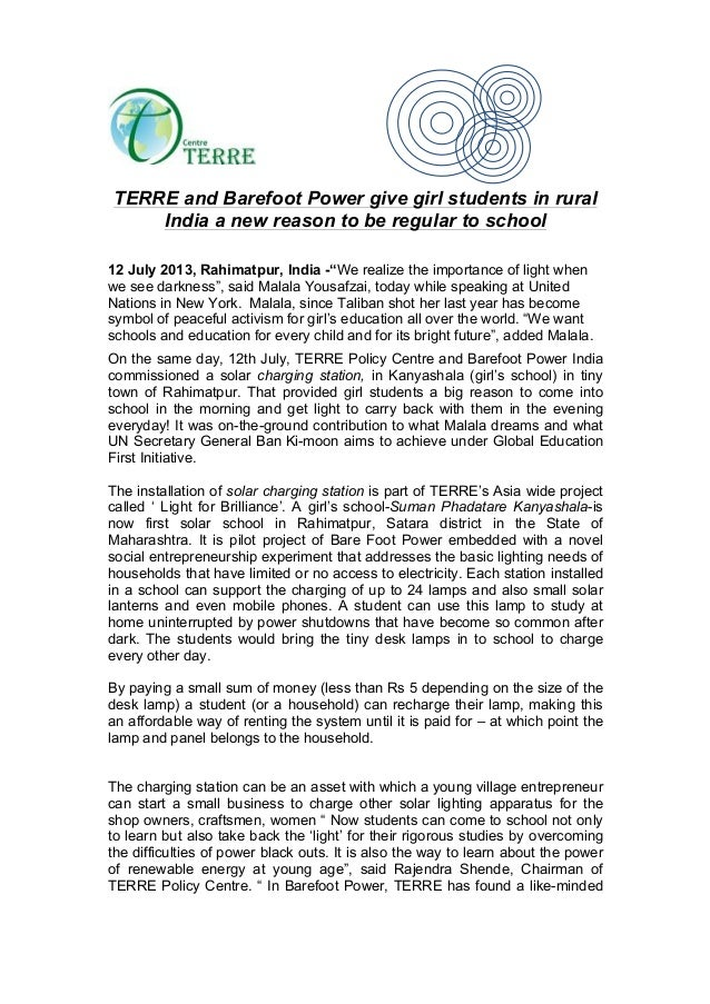 TERRE and Barefoot Power give girl students in rural India a new reason to be regular to school 12 July 2013, Rahimatpur, ...