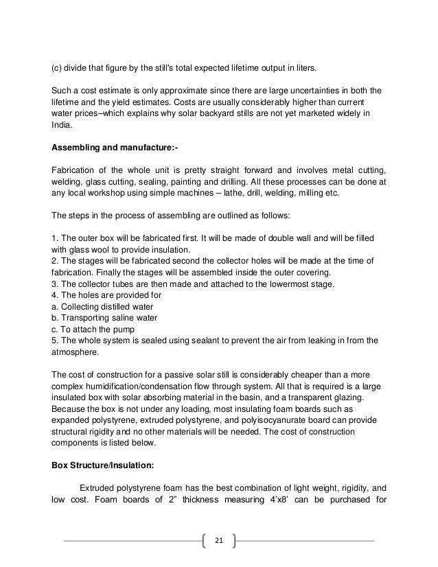 Process Essay Thesis   Business Etiquette Essay also Is A Research Paper An Essay Solar Stilla Water Purifying Technique Project Report How To Write A Proposal Essay Outline
