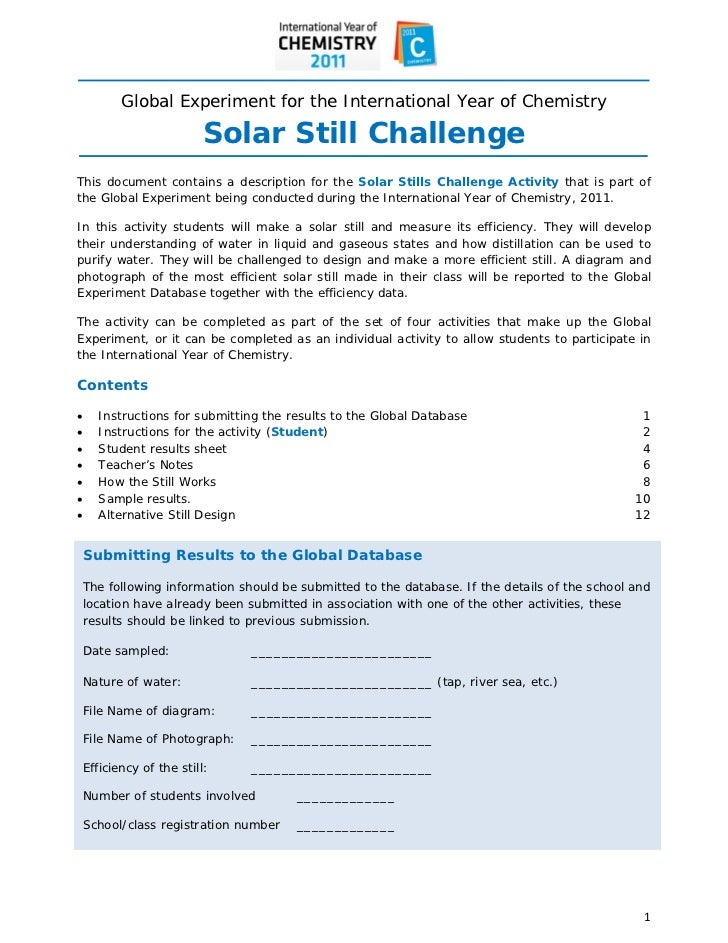 Global Experiment for the International Year of Chemistry                          Solar Still ChallengeThis...