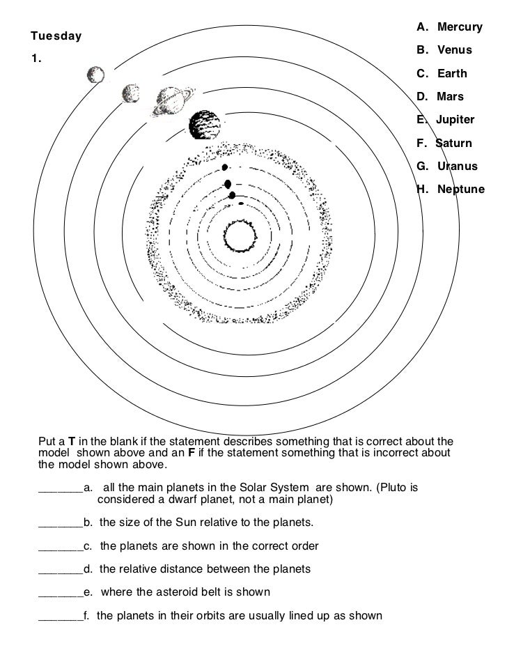 Solar system learning activities Worksheet – Solar System Worksheets