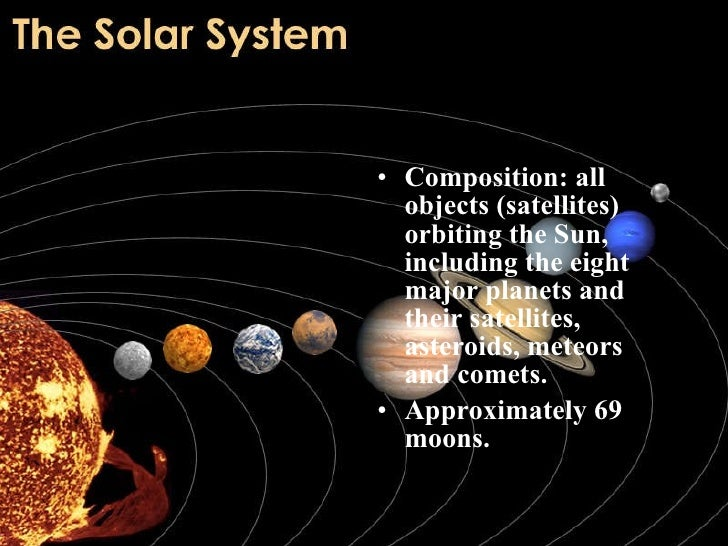 <ul><li>Composition: all objects (satellites) orbiting the Sun, including the eight major planets and their satellites, as...