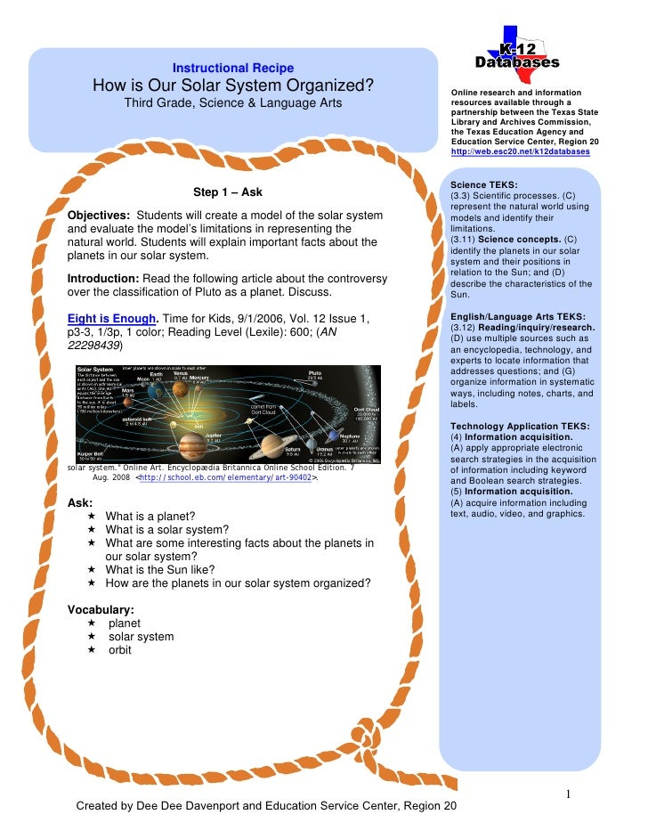 Instructional Recipe        How is Our Solar System Organized?                                     Online research and inf...