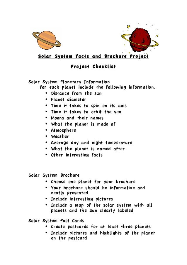 Solar System Facts and Brochure Project                   Project ChecklistSolar System Planetary Information     For ea...