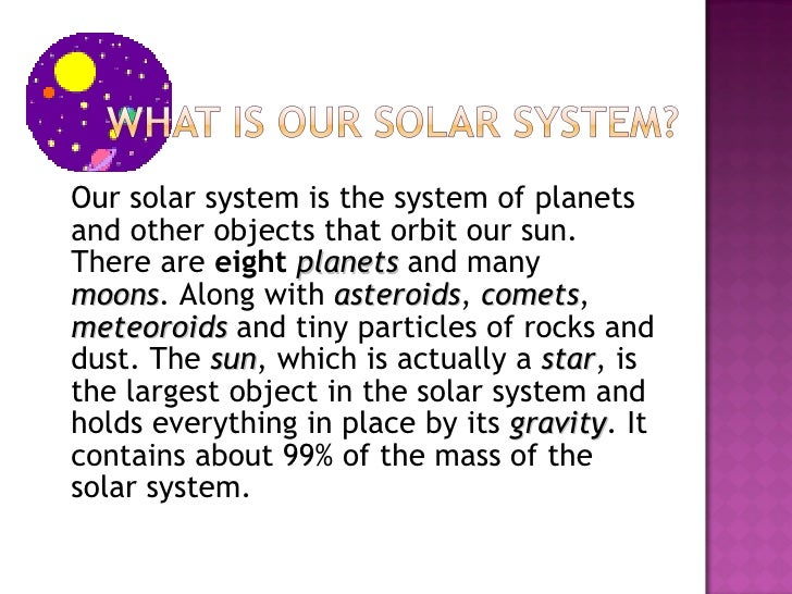 solar system essay question Solar system essay questions is it possible to argue that there are three classes of planets in the solar system, rather than the traditional two types.