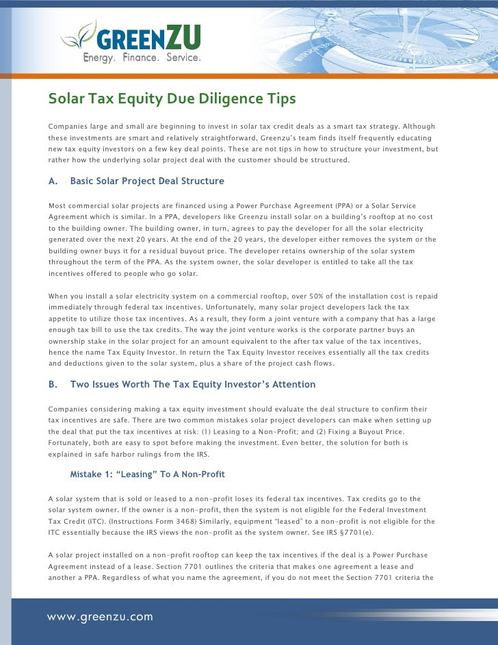 Solar Tax Equity Due Diligence Tips