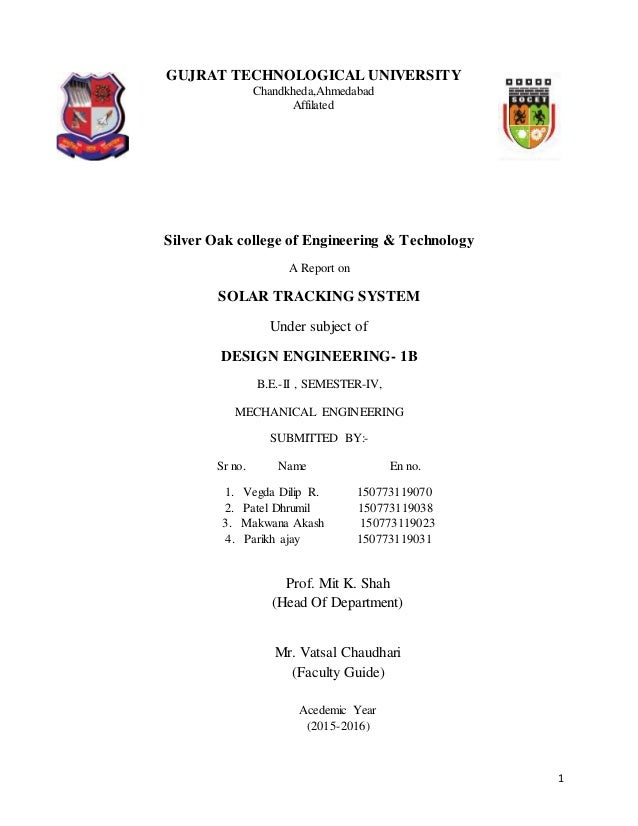 Solar tracking system final report GTU