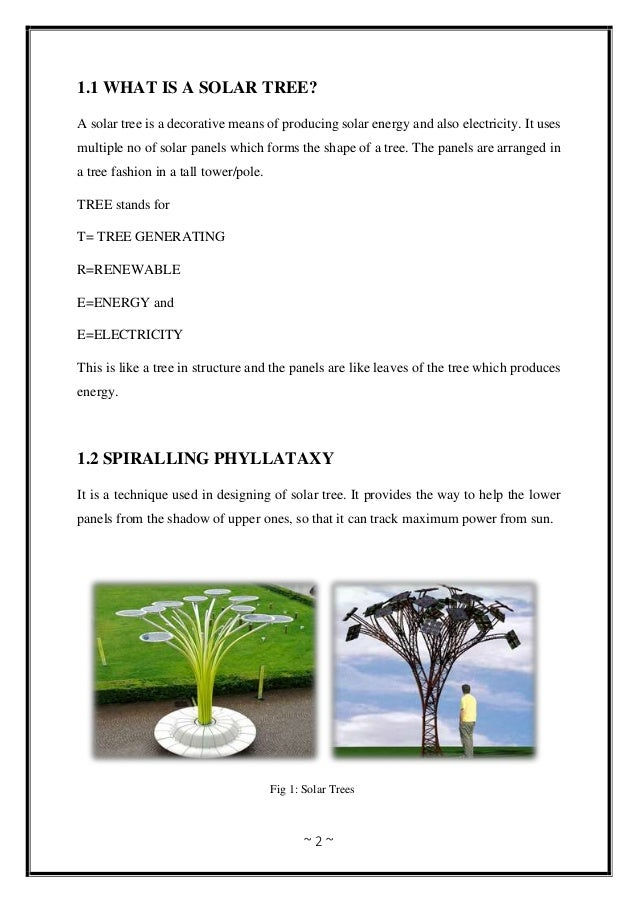 ~ 2 ~ 1.1 WHAT IS A SOLAR TREE? A solar tree is a decorative means of producing solar energy and also electricity. It uses...