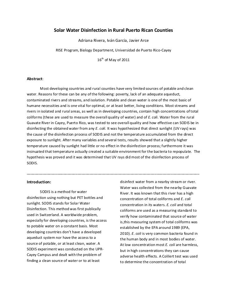 Solar Water Disinfection in Rural Puerto Rican Counties<br />Adriana Rivera, Iván García, Javier Arce<br />RISE Program, B...