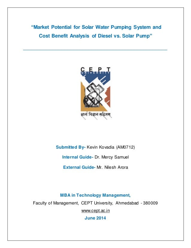 """Market Potential for Solar Water Pumping System and Cost Benefit Analysis of Diesel vs. Solar Pump""  Submitted By- Kevin ..."