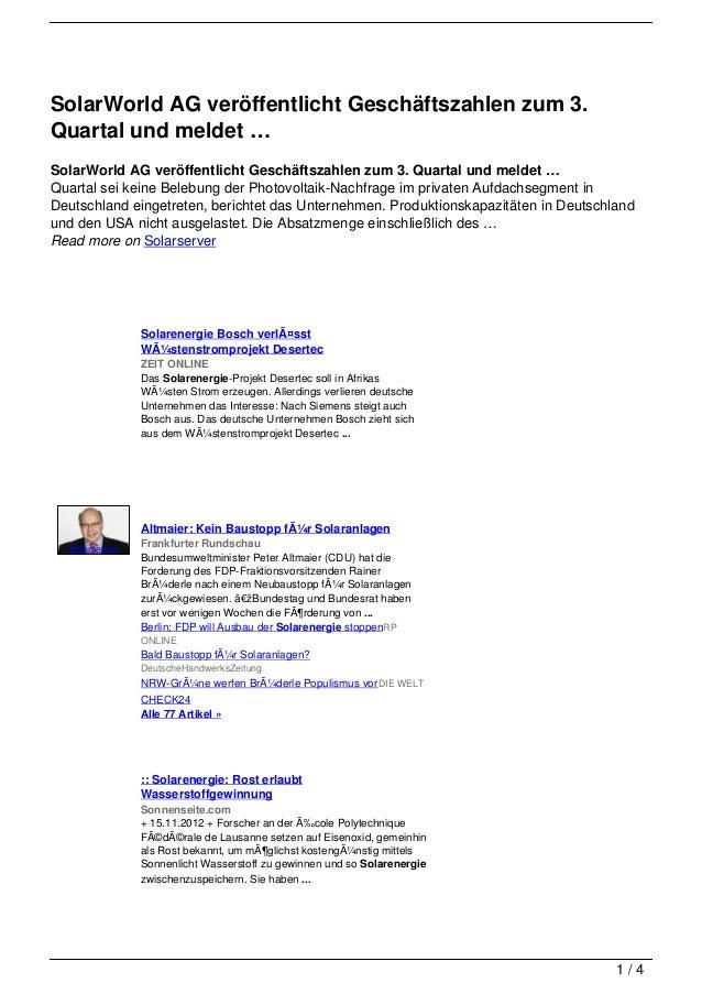 SolarWorld AG veröffentlicht Geschäftszahlen zum 3.Quartal und meldet …SolarWorld AG veröffentlicht Geschäftszahlen zum 3....