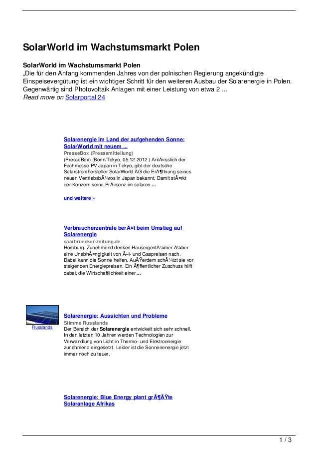 """SolarWorld im Wachstumsmarkt PolenSolarWorld im Wachstumsmarkt Polen""""Die für den Anfang kommenden Jahres von der polnische..."""
