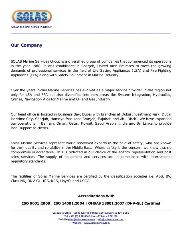 Solas marine services group company catalogue