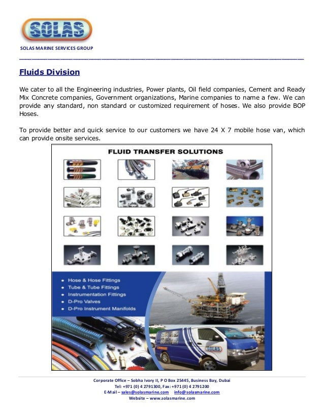 Solas marine services group company catalogue