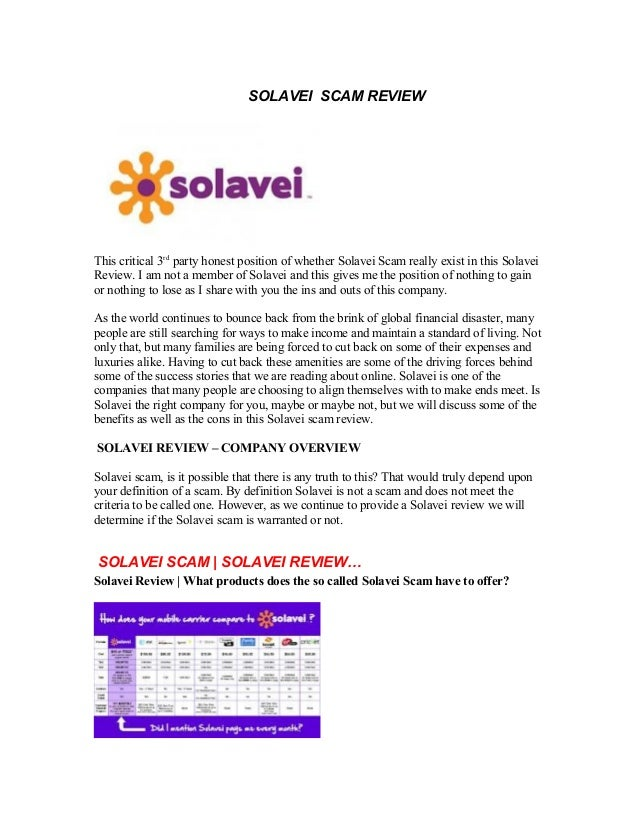 SOLAVEI SCAM REVIEWThis critical 3rdparty honest position of whether Solavei Scam really exist in this SolaveiReview. I am...