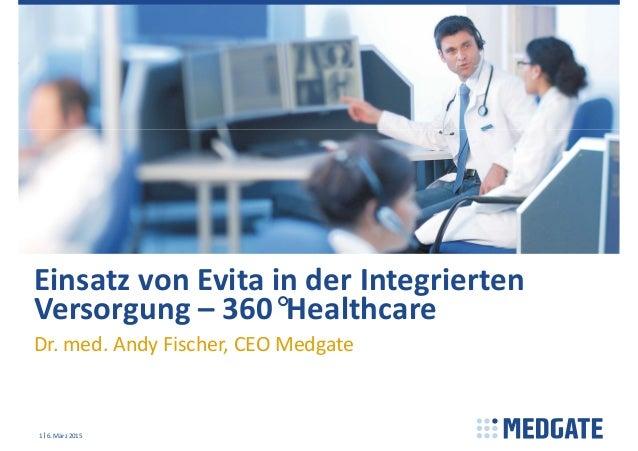 EinsatzvonEvitainderIntegrierten Versorgung– 360°Healthcare Dr.med.AndyFischer,CEOMedgate 6.März20151