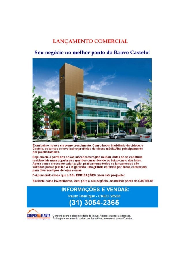 Sol center-Lançamento comercial Bairro Castelo