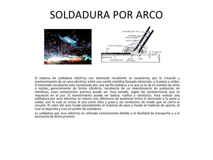 SOLDADURA POR ARCOEl sistema de soldadura eléctrica con electrodo recubierto se caracteriza, por la creación ymantenimient...