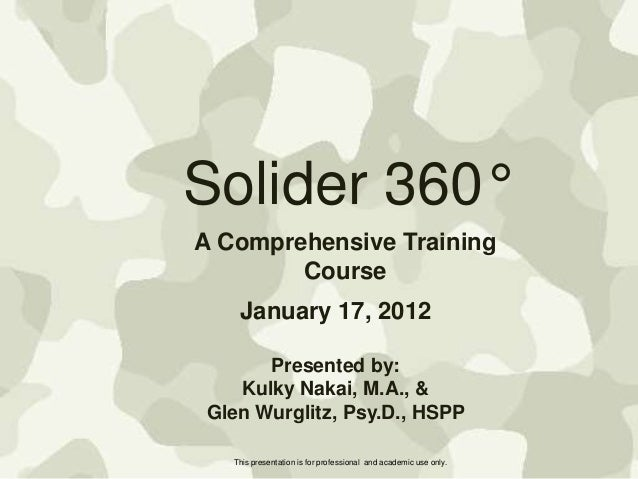 Solider 360° A Comprehensive Training Course January 17, 2012 Presented by: Kulky Nakai, M.A., & Glen Wurglitz, Psy.D., HS...