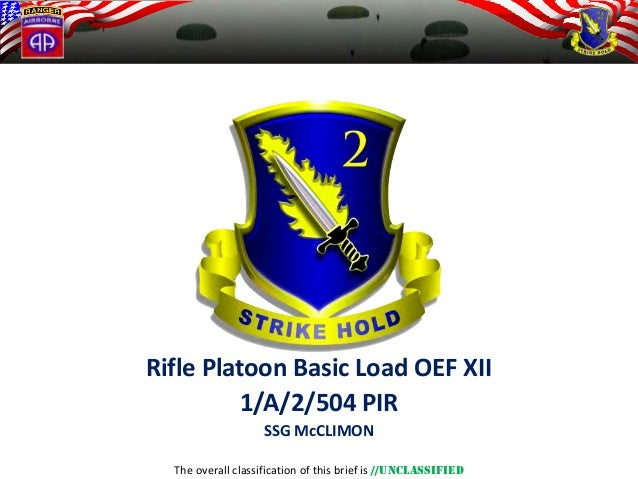 The overall classification of this brief is //UNCLASSIFIED  Rifle Platoon Basic Load OEF XII  1/A/2/504 PIR  SSG McCLIMON