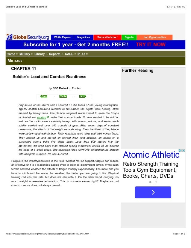 5/17/16, 4:27 PMSoldier's Load and Combat Readiness Page 1 of 8http://www.globalsecurity.org/military/library/report/call/...