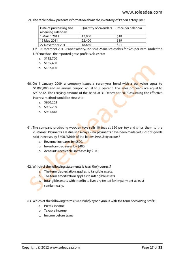 2009 cfa level i mock exam I was thinking of doing 2009 first because people said it was easier  if someone  could email me past cfa exams too that would be awesome  degree of  operationg leverage and financial leverage was a level one topic.
