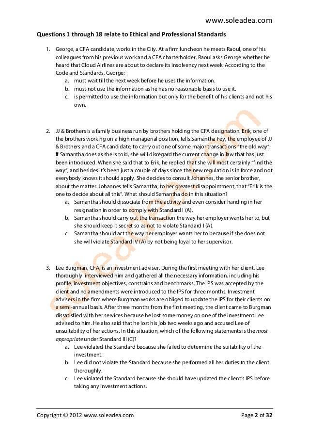 CFA LEVEL 1 mock-exam